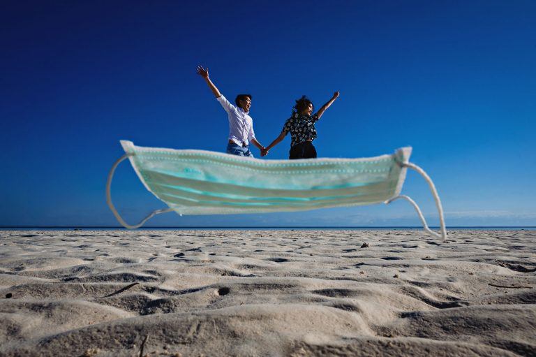 COVID Virus Wedding Couple Riding on a faceMask